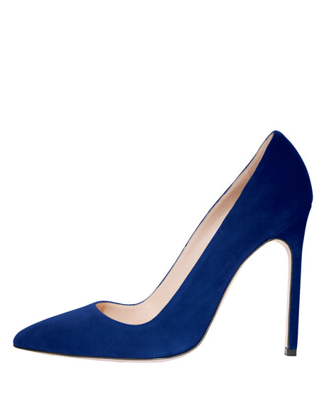 BB Suede 115mm Pump, Cobalt