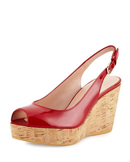 Jean Patent Leather Peep-Toe Wedge, Red