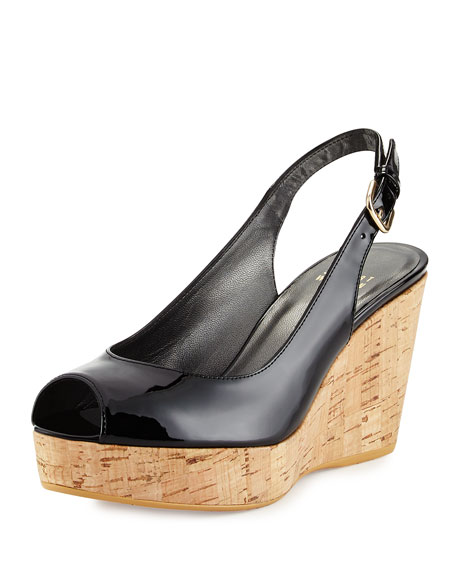 Stuart Weitzman Jean Patent Leather Peep-Toe Wedge, Black