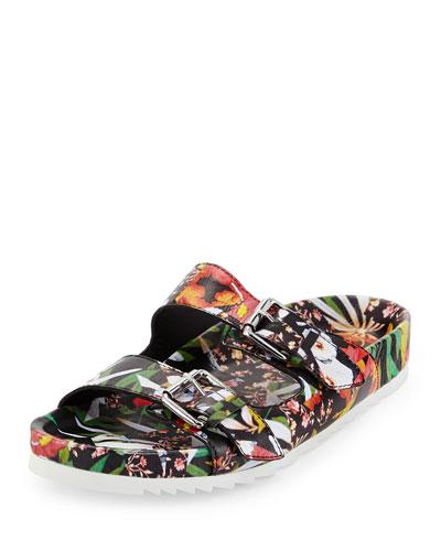 Up Floral-Print Strap Sandal, Multi