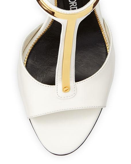 Leather T-Bar Ankle-Wrap Sandal, Chalk