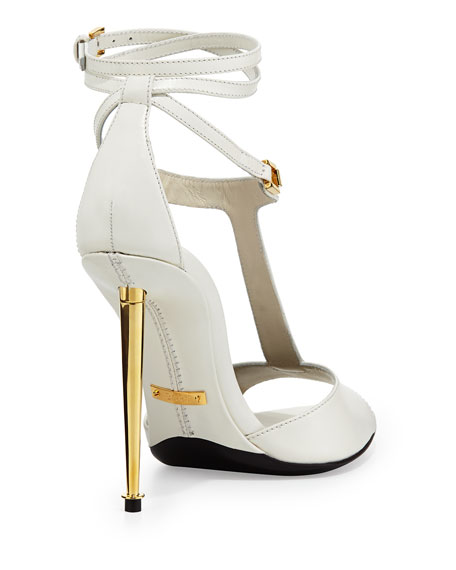 Leather T-Bar Ankle-Wrap Sandal, Chalk