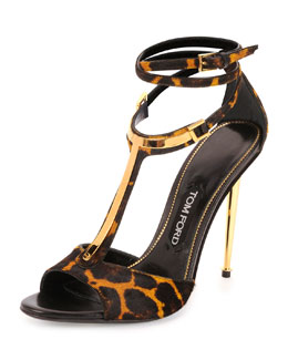 Leopard-Print Calf Hair T-Bar Sandal