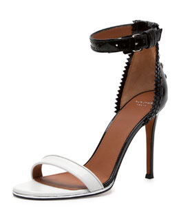 Brogue-Back Bicolor Ankle-Wrap Sandal
