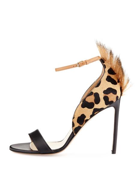 Leopard-Print Calf Hair Sandal