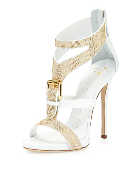 Strass Buckle Leather Sandal, Bianco