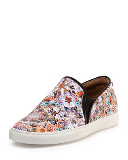 Floral-Print Leather Slip-On Sneaker