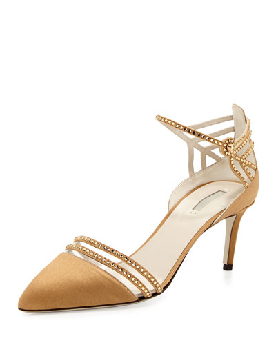 Satin & Crystal Point-Toe Sandal, Bronze