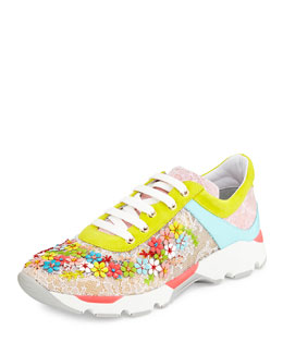 Floral Embellished Lace Sneaker, Multicolor