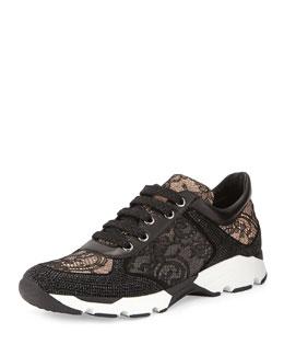 Strass Lace Sneaker, Black/Nude