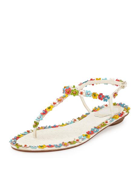Lace & Floral Thong Sandal, Multi