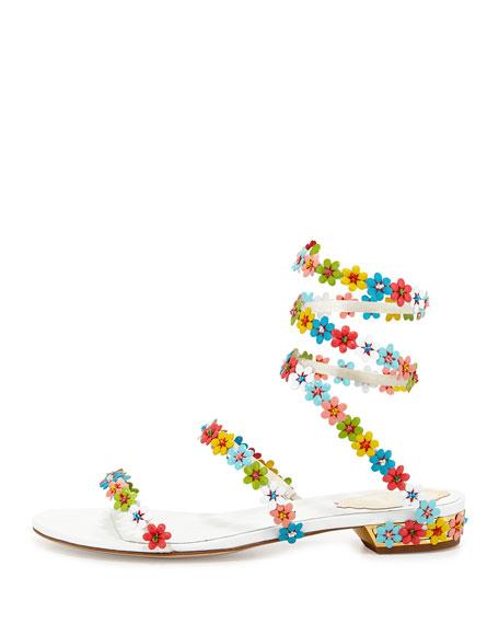 Floral-Embellished Coil Sandal, White/Multi
