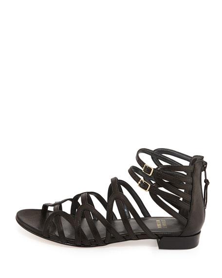 Athens Leather Gladiator Sandal, Black