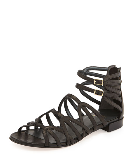 Athens Leather Gladiator Sandal, Black