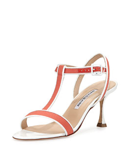 Dador Linen T-Strap Sandal, Coral
