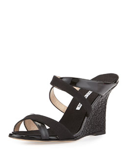 Varchi Patent Leather and Linen Crisscross Wedge Sandal, Black