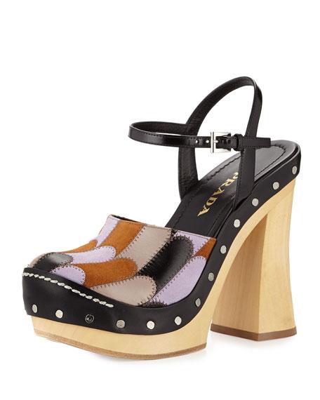 prada womens wallets - Prada Patchwork Ankle-Strap Clog, Campanula