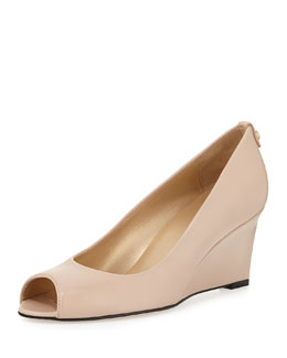 Loire Peep-Toe Wedge Pump, Adobe