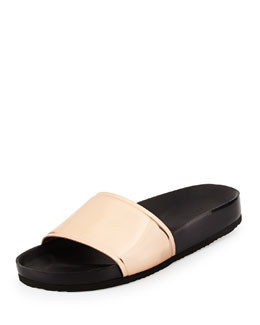 Olivia Metallic Pool Slide, Rose Gold/Black