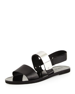 Ciara Leather Metal-Plate Sandal, Black