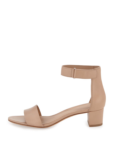 Rita Leather Block-Heel Sandal, Nude