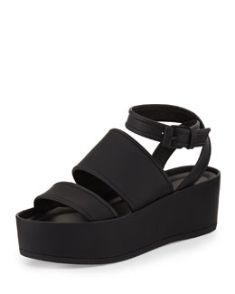 Vienna Flat Platform Ankle-Wrap Sandal, Black