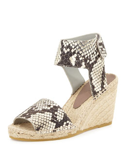 Sophie Python-Print Leather Espadrille Wedge, Black/White