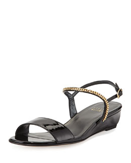Sweeper Chain Demi-Wedge Sandal, Black