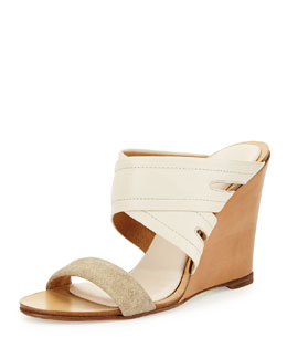 Shaw Leather Wedge Mule, Natural