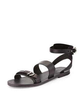 Lara Leather Flat Sandal, Black