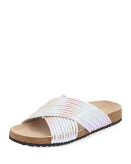 Petra Iridescent Sandal Slide, Pearl