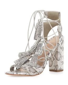 Luz Tassel Snakeskin Sandal, Cream/Grey