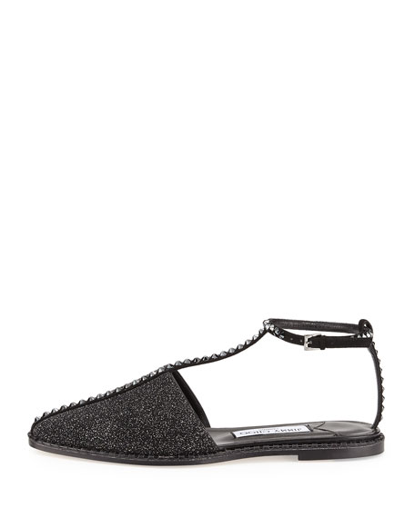 Gizma Crystal-Studded Flat Closed-Toe Sandal
