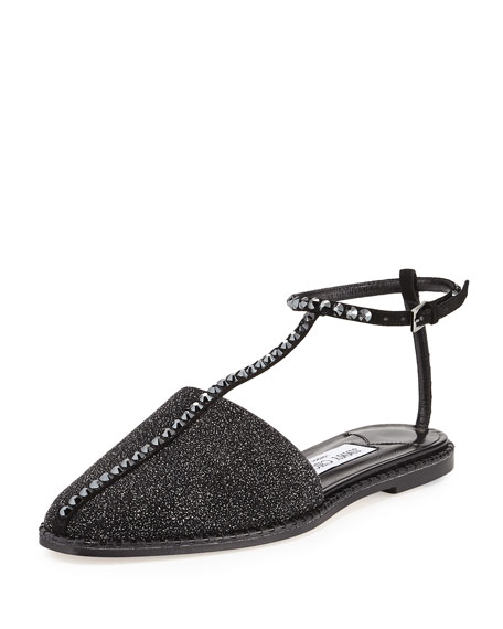 Gizma Crystal-Studded Flat Closed-Toe Sandal
