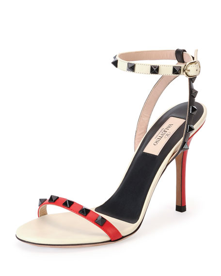 Rockstud Lacquer-Stud Ankle-Wrap Sandal, Rosso/Lt Ivory
