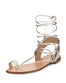 Lasso Metallic Lace-Up Gladiator Sandal, Pearl