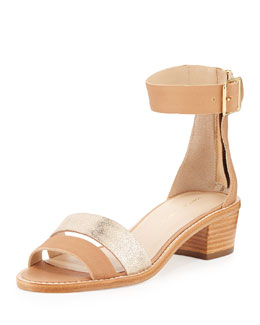 Henry Leather City Sandal, Gold/Natural