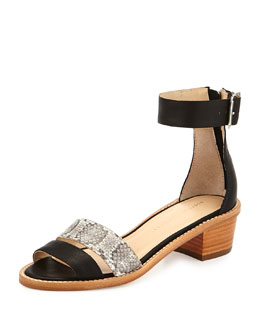Henry Leather/Snake City Sandal, Black/Gray
