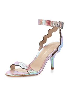 Reina Scalloped Leather Sandal, Iridescent