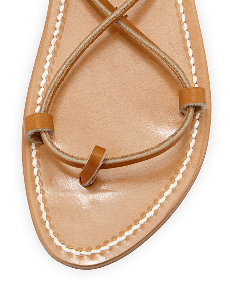 Bikini Leather Gladiator Sandal, Pur Naturel