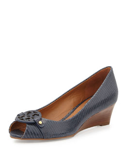 Mini Miller Open-Toe Wedge, Tory Navy