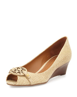 Mini Miller Open-Toe Wedge, Trench Tan