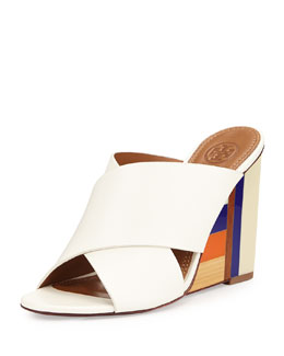 Color Cube Leather Wedge Sandal, Ivory