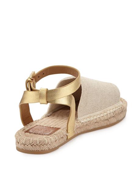 Stretch-Canvas Espadrille Sandal, Natural/Gold