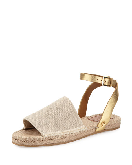 Stretch-Canvas Espadrille Sandal, Natural/Gold