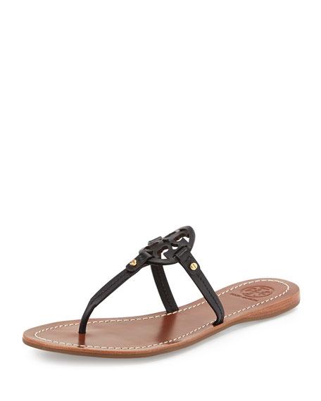 56776155a Tory Burch Mini Miller Leather Flat Thong Sandal, Black