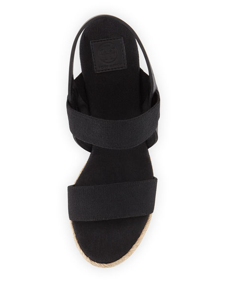 Two-Band Canvas Wedge Sandal, Black