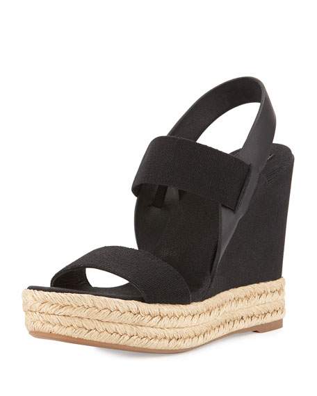 eb2378835a Tory Burch Two-Band Canvas Wedge Sandal, Black