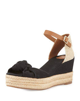 Knotted Bow Wedge Sandal, Black/Royal Tan