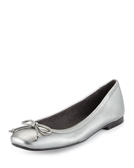 Shoestring Metallic Ballerina Flat, Pewter